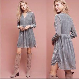Anthropologie gray velvet long sleeve dress